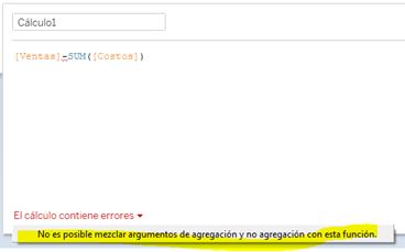 No es posible mezclar argumentos de agregación y no agregación con esta función