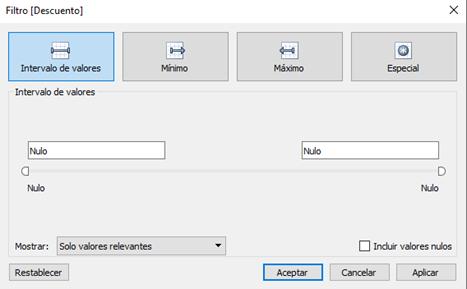 Creación de filtros con datos continuos