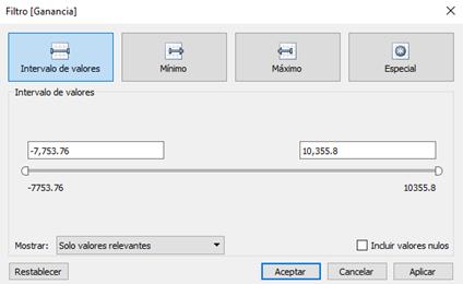 Tipos de filtro: Configuración de los filtros de medida