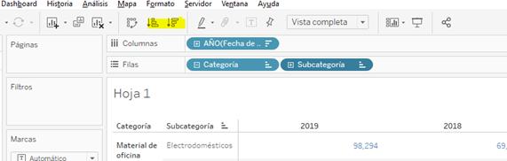Orden de los datos desde la barra de herramientas.