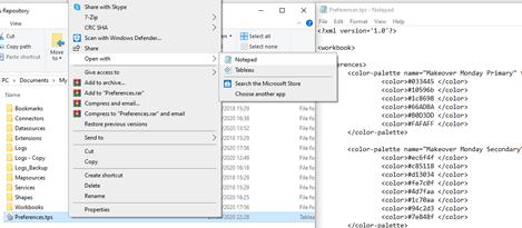 Configuración archivo preferencias en el repositorio de Tableau